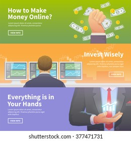Multicolor stock exchange trading set of web banners. Equity market. World economy major trends. Modern flat design. Make money. Invest wisely. Everything is in Your Hands.