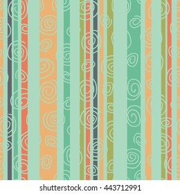 Multicolor striped seamless pattern with spirals.