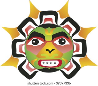 Multicolor sun rendered in Northwest Coast Native style.