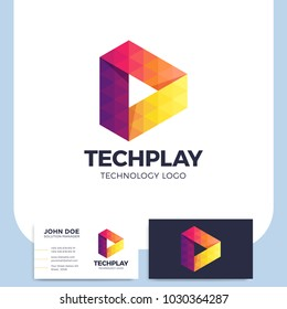 Multicolor triangle shape media play button logo or symbol in polygonal style