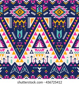 multicolor tribal Navajo vector seamless pattern. aztec fancy abstract geometric art print.  ethnic hipster backdrop. Wallpaper, cloth design, fabric, paper, cover, textile, weave, wrapping.