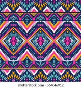 multicolor tribal vector seamless navajo pattern. aztec abstract geometric art print. ethnic hipster vector background.  Wallpaper, cloth design, fabric, paper, cover, textile template