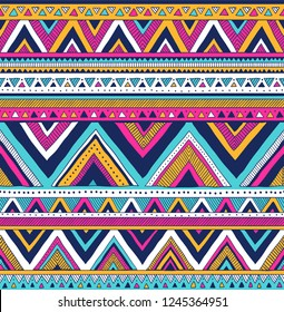 multicolor tribal vector seamless pattern. aztec fancy abstract geometric art print. ethnic hipster background. doodle hand drawn. Wallpaper, cloth design, fabric, tissue, cover, textile template.