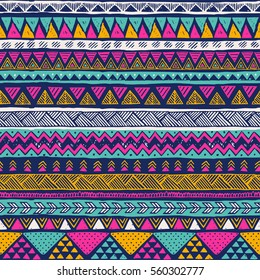 multicolor tribal vector seamless pattern. aztec fancy abstract geometric art print. ethnic hipster background. doodle hand drawn.Wallpaper, cloth design, fabric, paper, cover, textile,  wrapping.