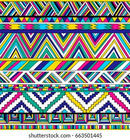 multicolor tribal vector seamless pattern. aztec fancy abstract geometric art print. ethnic hipster background. doodle hand drawn. Wallpaper, cloth design, fabric, paper, cover, textile,  wrapping