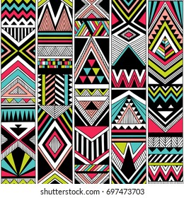 multicolor tribal vector seamless pattern. aztec fancy abstract geometric art print. ethnic  background. doodle hand drawn. Wallpaper, cloth design, fabric, tissue, cover, textile template.