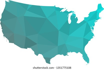 Multicolor USA Map in Low Poly Style on isolated white background. United States of America area in Polygonal diamond style for your design.