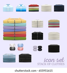 Multicolor vector clothing piles realistic icon set with shadows. Sweatshirts, pullovers, trousers, etc in flat piles. Suitable for print or shop icons. Fully editable.