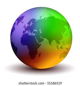 Multicolor Vector Earth Globe
