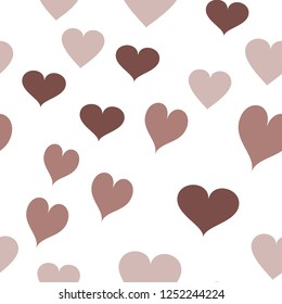Multicolor Vector Pattern with Hearts  in chocolate color. Elements are not cropped. Pattern under the mask. Vector. Perfect design for textile, box, posters, cards, web etc.