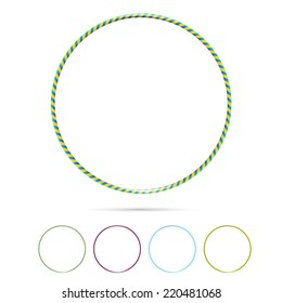Multicolor vector plastic bangles hula hoop arranged on white background
