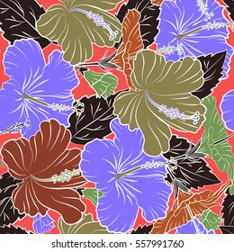 Multicolor vintage vector floral seamless pattern with hibiscus, leaves and buds on a pink background.