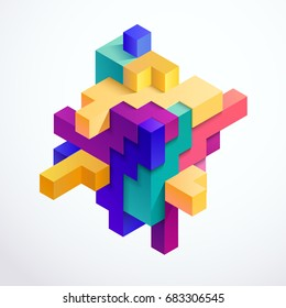 Multicolored 3D cube
