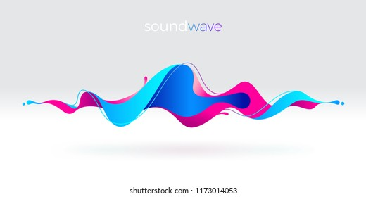 Multicolored abstract fluid sound wave. Vector illustration.
