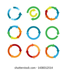 Multicolored arrows in circular motion. Arrow combinations. Rotation arrows. Circle arrow icon. Recycling flat design vector icons set. Recycle icon vector illustration isolated on white background