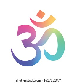 Multicolored Aum or Om religious symbol. Concepts: Religion (hindusim, buddhism) symbols, spirituality, meditation etc. In Hinduism, it signifies the sound incarnation of God and chanted