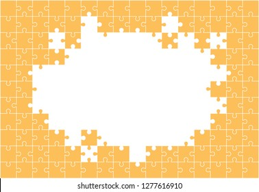 Multi-colored background from separate pieces of mosaic (puzzles) on a white background. Business, merger, joining, teamwork.