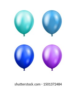 Multi-colored balloons isolated on white background. Glossy blue, azure, ultramarine and violet 3D realistic helium balloons. Vector concept for banner, cards and other designs.