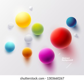 Multicolored balls on  white background. Top View