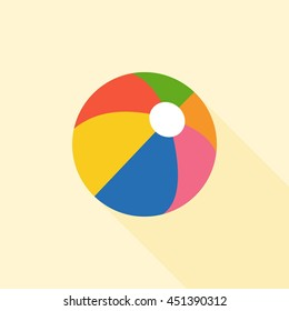 Multicolored beach ball icon with long shadow Isolation, flat design vector