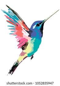 Multicolored bird in flight. Vector