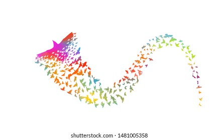 Multi-colored birds. Abstract bird mosaic. A flock of flying rainbow birds. Vector illustration