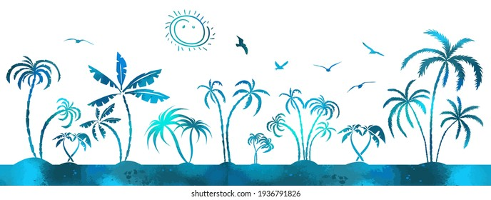 Multi-colored blue palms trees. Vector illustration