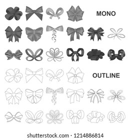 Multicolored bows monochrom icons in set collection for design.Bow for decoration vector symbol stock web illustration.