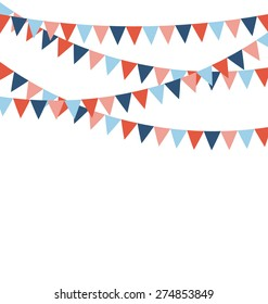 Multicolored bright buntings flags garlands isolated on white background