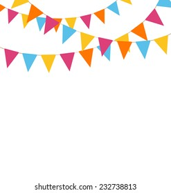 Multicolored bright buntings garlands isolated on white background