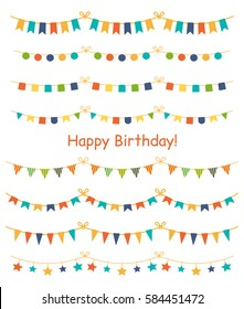 Multicolored bright buntings garlands isolated on white background. Design elements for decoration of greetings cards, invitations.