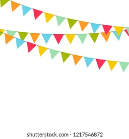 Multicolored bright buntings garlands. Vector isolated on white background.
