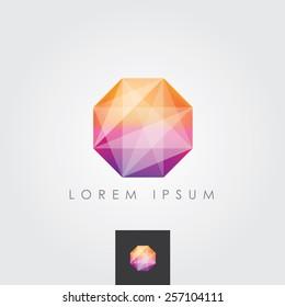 multicolored bright octagon polygon geometric shape logo element