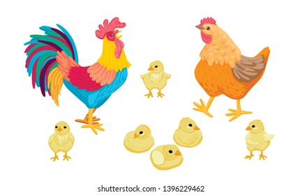 A multicolored bright rooster crows, a brown hen walks with chickens, birds sit and sleep, a family walk, farm birds, village animals. Children's illustration. Cartoon flat style illustration.