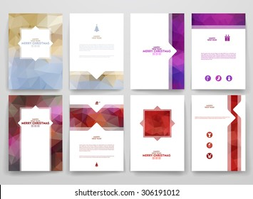 Multicolored brochures template in trendy style on Merry Christmas and Happy New Year theme. Vector poligonal design.