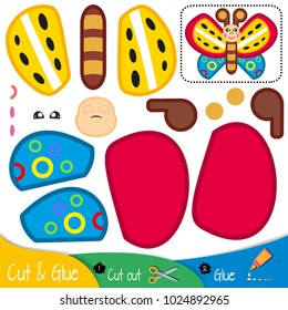 Multicolored butterfly with colorful wings. Education paper game for preshool children. Vector illustration.
