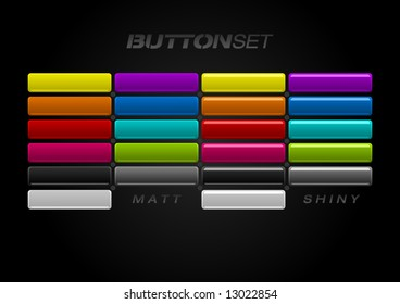 Multi-colored Button Set in two different styles. Matt & shiny.