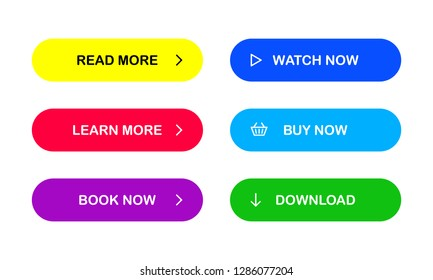 Multicolored buttons for your web site. Read more. Learn more. Book now. Watch now. Buy now. Download. EPS 10