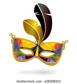 Multicolored carnival mask and feathers on white background. Triangle pattern on surface of mask