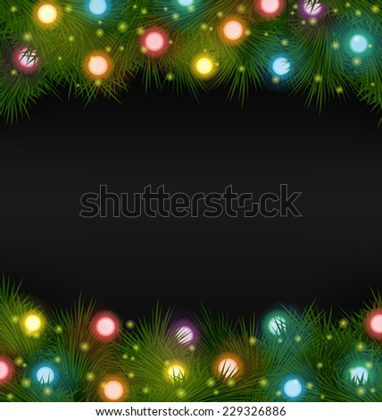 multicolored christmas lights on pine branches stock vector royalty