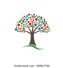 Multicolored circles tree image. Concept of Happiness and prosperous life.Vector icon