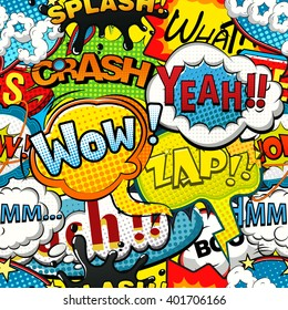 Multicolored comics speech bubbles seamless pattern