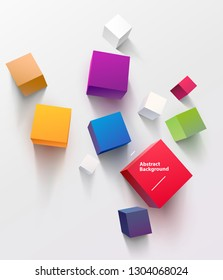 Multicolored cubes on white background. Top View