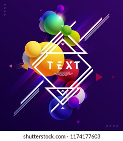 Multicolored decorative balls. Design of  poster with text.