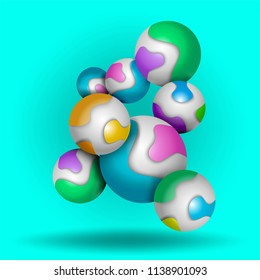 Multicolored decorative balls fall. Abstract vector illustration.