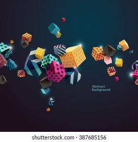 Multicolored decorative cubes. Abstract vector illustration.