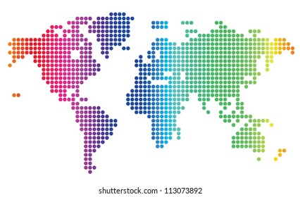Multicolored dotted world map. Vector illustration.