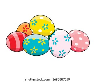 Multi-colored Easter eggs in isolate on a white background. Easter card. Vector illustration...