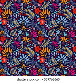 Multicolored elegant little flowers and funny bugs on a blue background, vector texture, illustration.