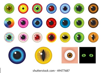 Multicolored Eyes, Iris and Pupil - Elements for design
